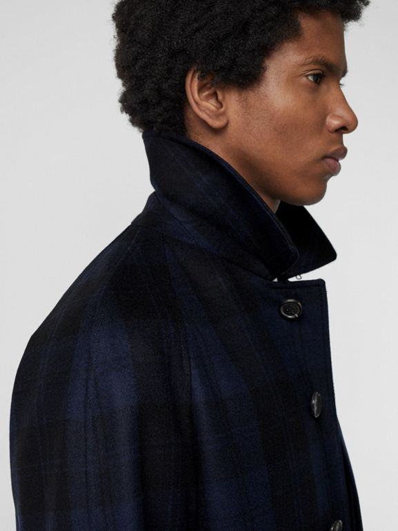 Check Cashmere Car Coat in Navy - Men | Burberry - cell image 1