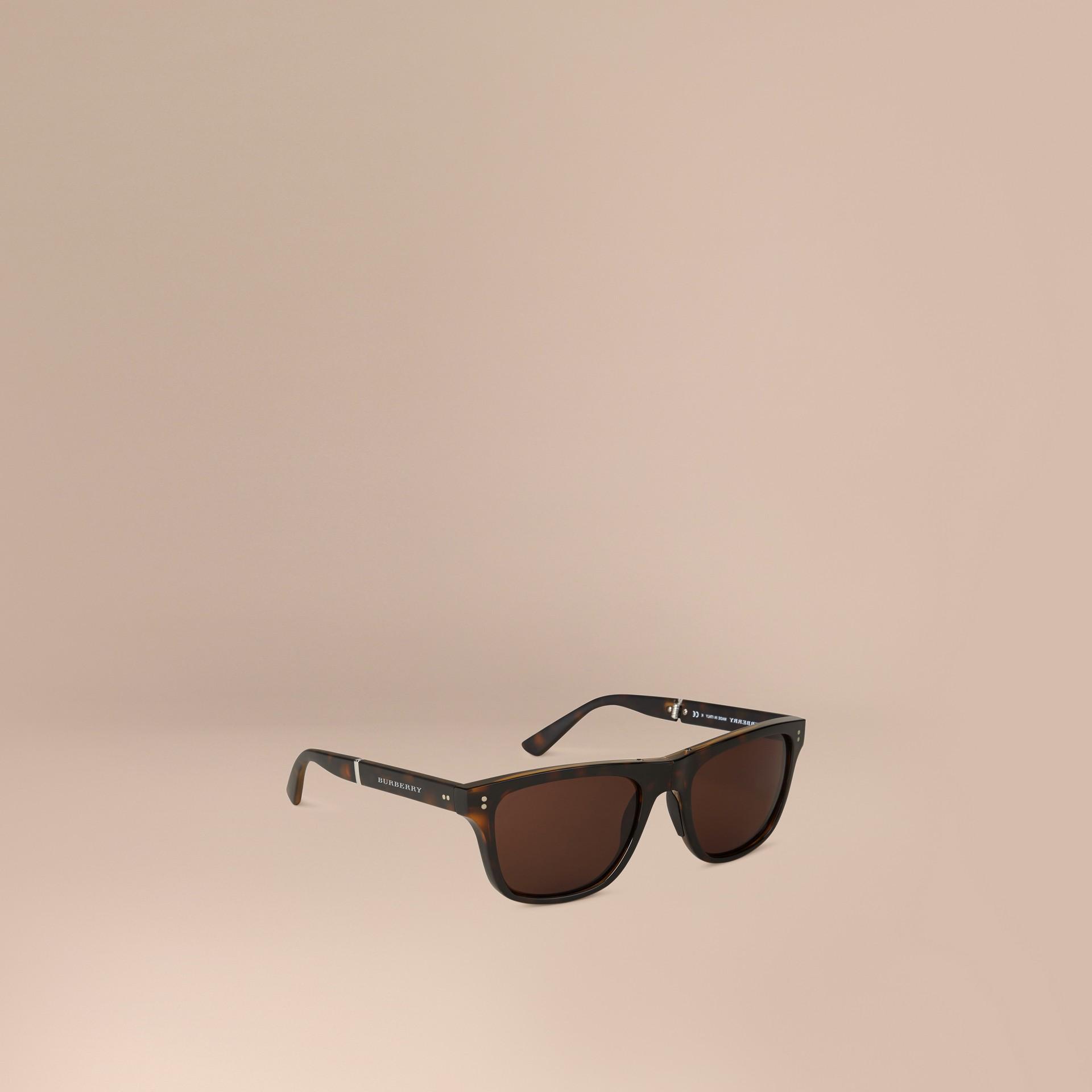 Marrone scuro Occhiali da sole con montatura rettangolare pieghevole Marrone Scuro - immagine della galleria 1