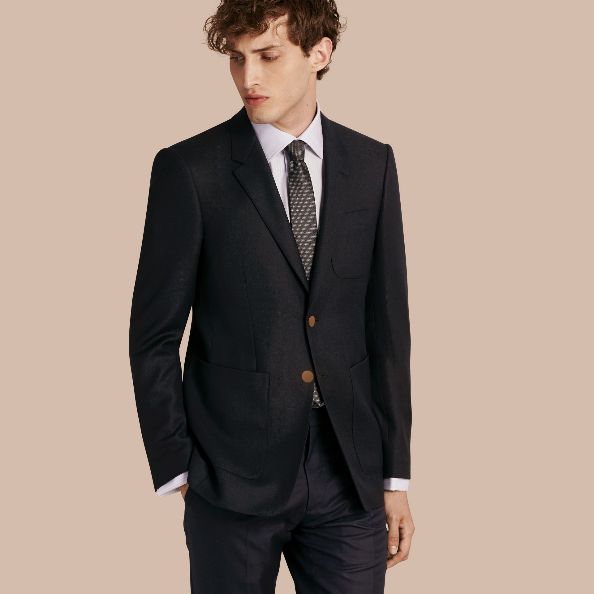 Modern Fit Tailored Wool Half-canvas Jacket in Navy - Men | Burberry - gallery image 1