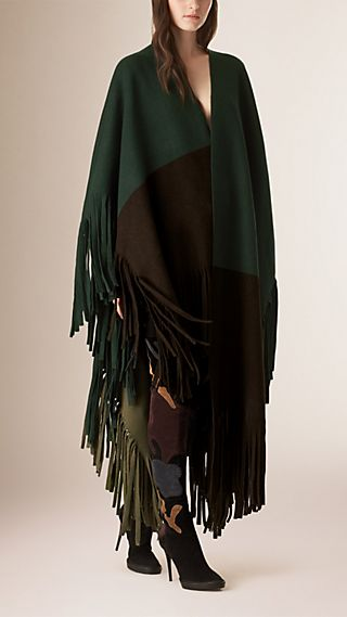Colour Block Fringed Felted Wool Cashmere Poncho
