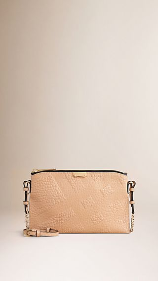 Check-embossed Leather Clutch Bag Pale Apricot