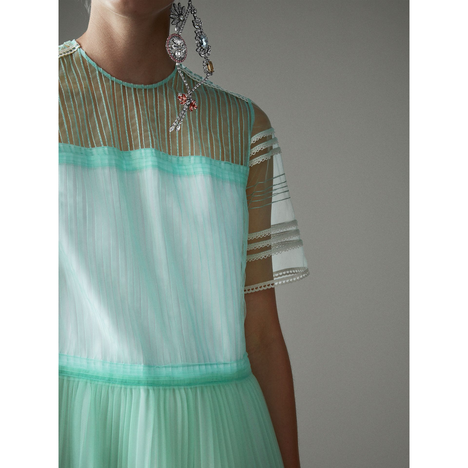 English Lace Trim Pleated Tulle Dress in Light Mint - Women | Burberry Canada - gallery image 2
