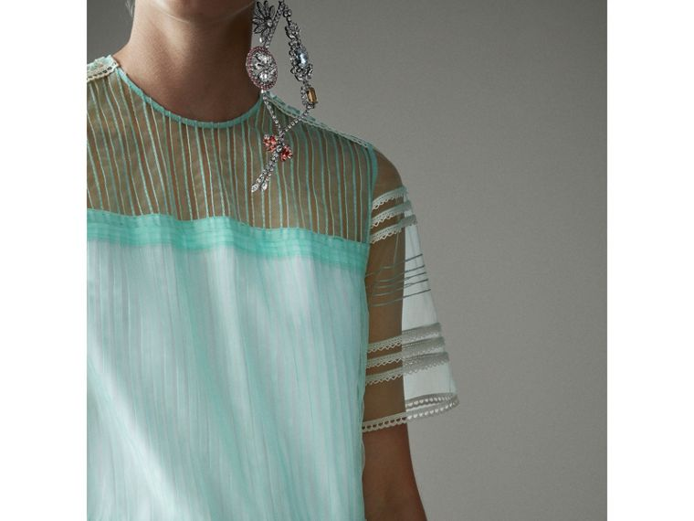 English Lace Trim Pleated Tulle Dress in Light Mint - Women | Burberry Canada - cell image 1
