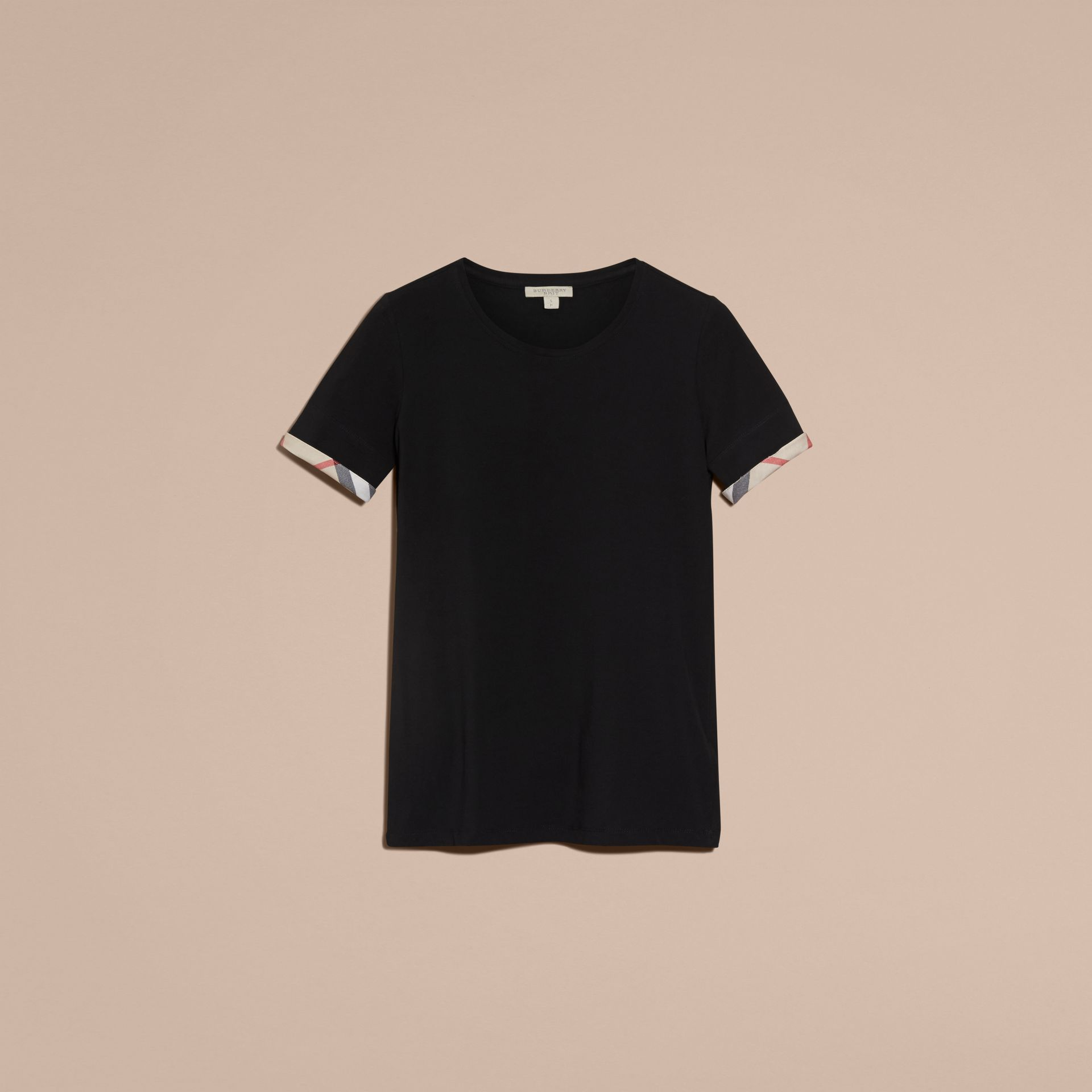 Check Cuff Stretch Cotton T-Shirt in Black - Women | Burberry - gallery image 4