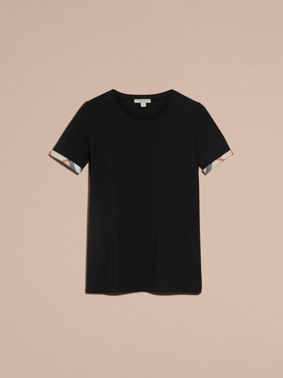 T-shirt in cotone stretch con risvolti con motivo check Nero - cell image 3