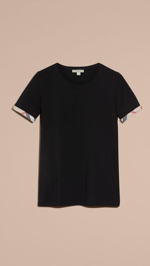 Black Check Cuff Stretch Cotton T-Shirt Black - Image 4