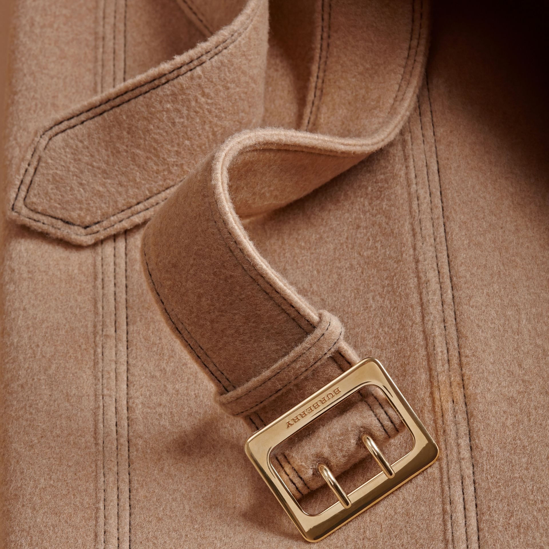 Camel Slim Fit Wool Cashmere Trench Coat - gallery image 2