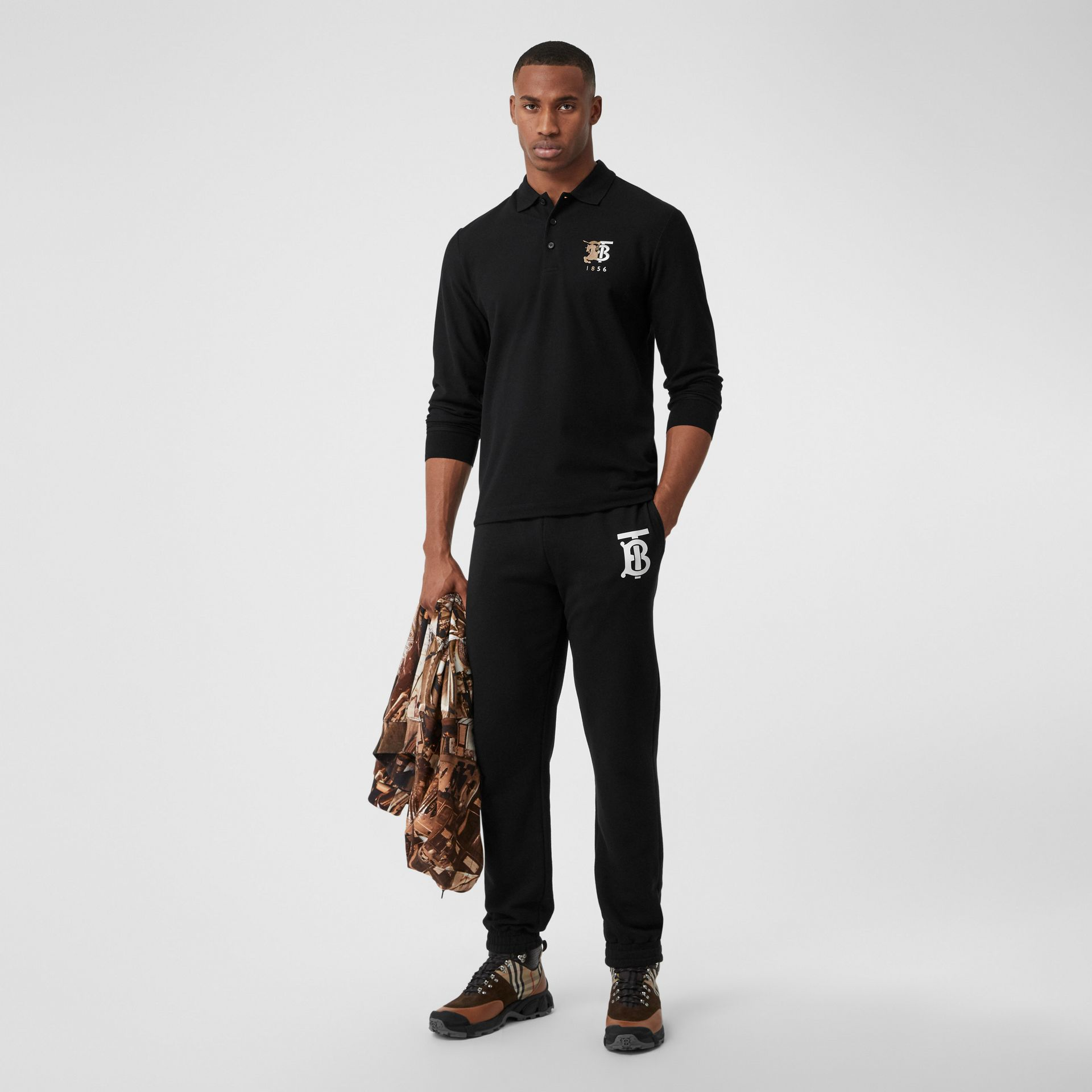 Long-sleeve Contrast Logo Graphic Cotton Polo Shirt in Black - Men   Burberry - gallery image 0