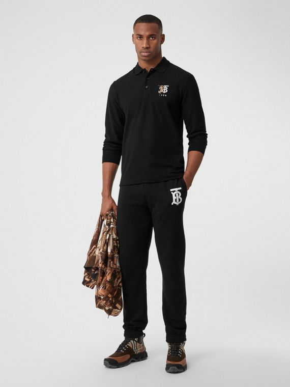 Long-sleeve Contrast Logo Graphic Cotton Polo Shirt in Black