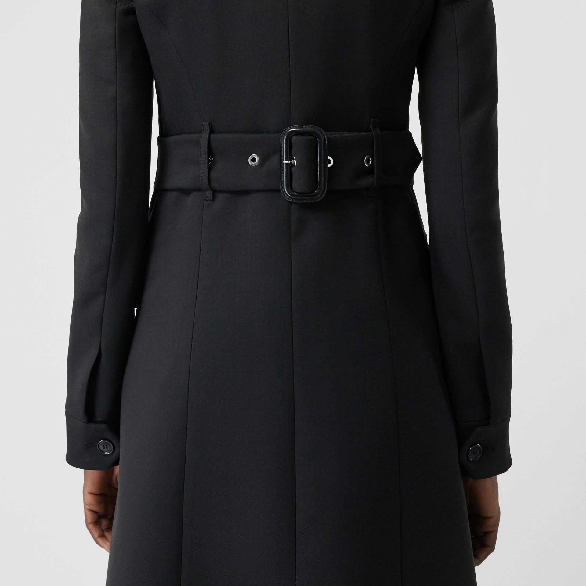 Wool Silk Tailored Coat in Black - Women | Burberry - gallery image 4