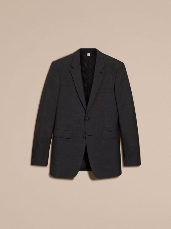 Charcoal Modern Fit Check Wool Part-canvas Suit Charcoal - cell image 3