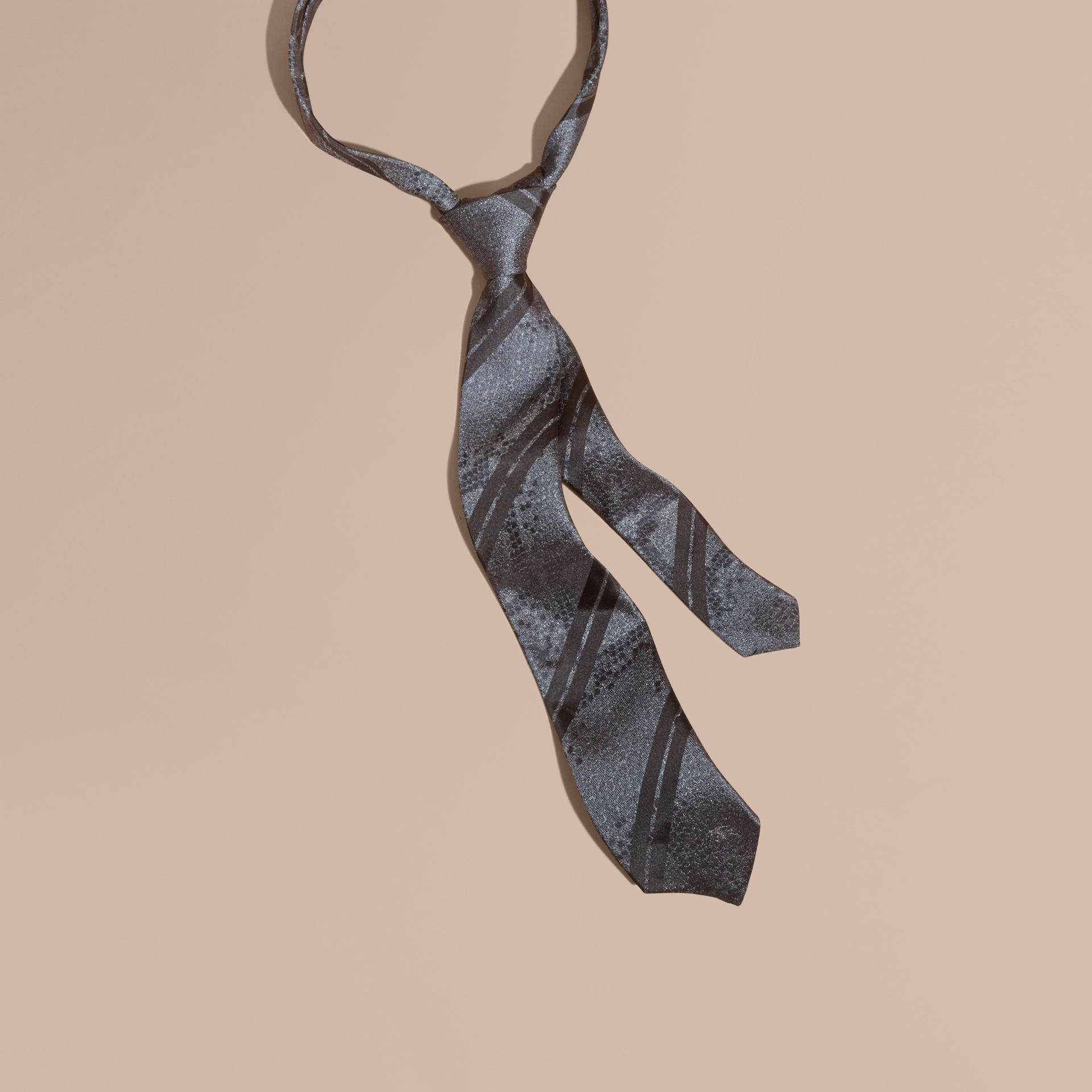 Charcoal Modern Cut Python Jacquard Silk Tie Charcoal - gallery image 1