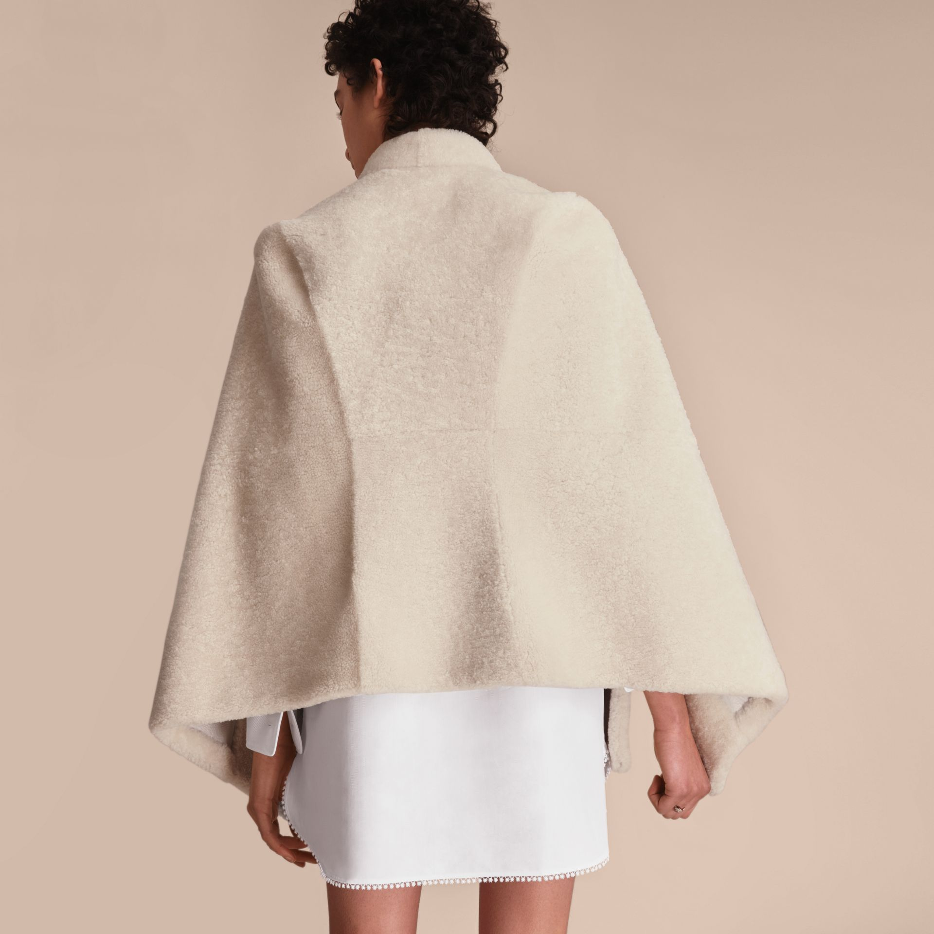 Sculptural Shearling Cape in White - Women | Burberry Canada - gallery image 3