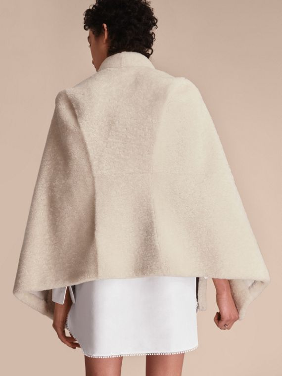 Sculptural Shearling Cape in White - Women | Burberry Canada - cell image 2