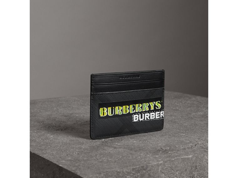Tag Print London Check Card Case in Charcoal | Burberry - cell image 4