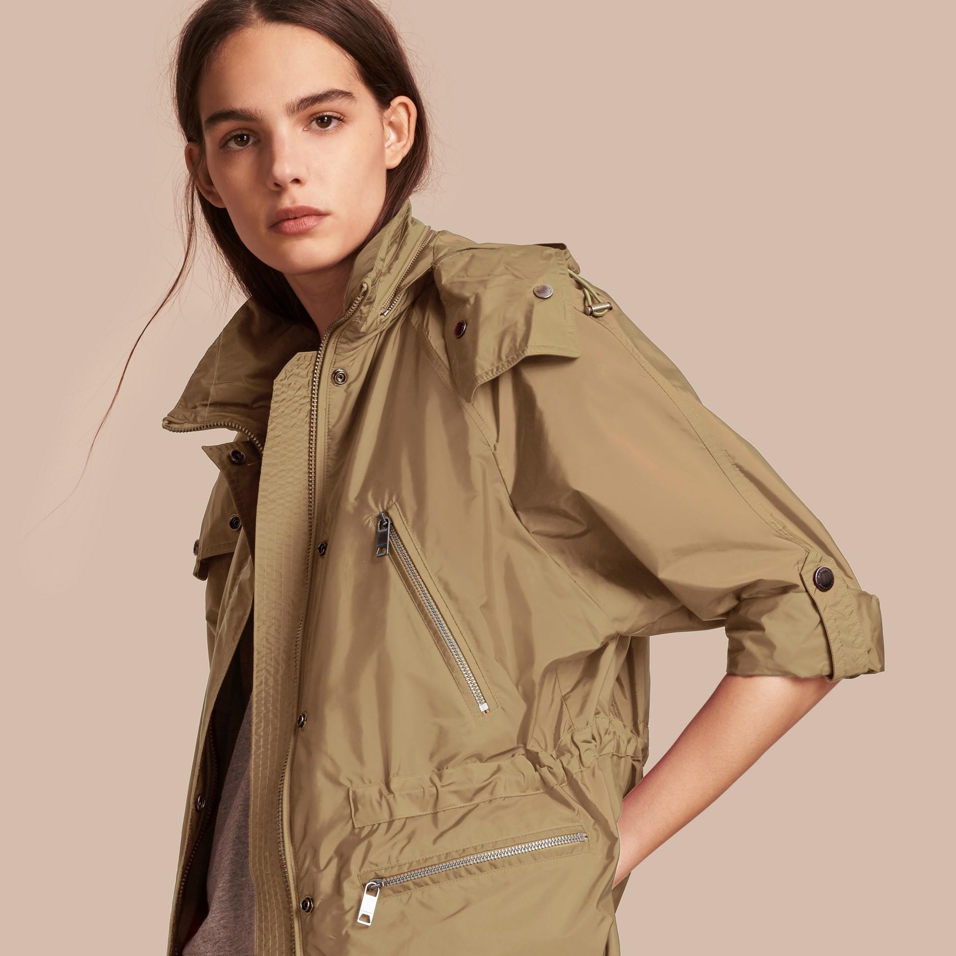 Showerproof Parka Jacket with Packaway Hood Sisal - gallery image 1