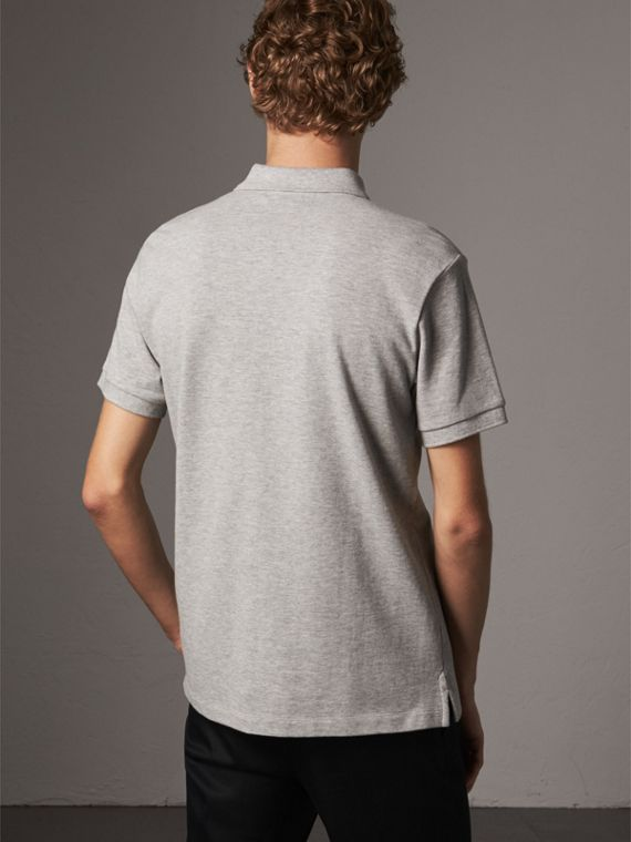 Tartan Trim Cotton Piqué Polo Shirt in Pale Grey Melange - Men | Burberry United Kingdom - cell image 2