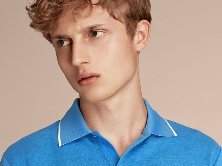 Tipped Collar Cotton Piqué Polo Shirt Chalk Blue - cell image 4
