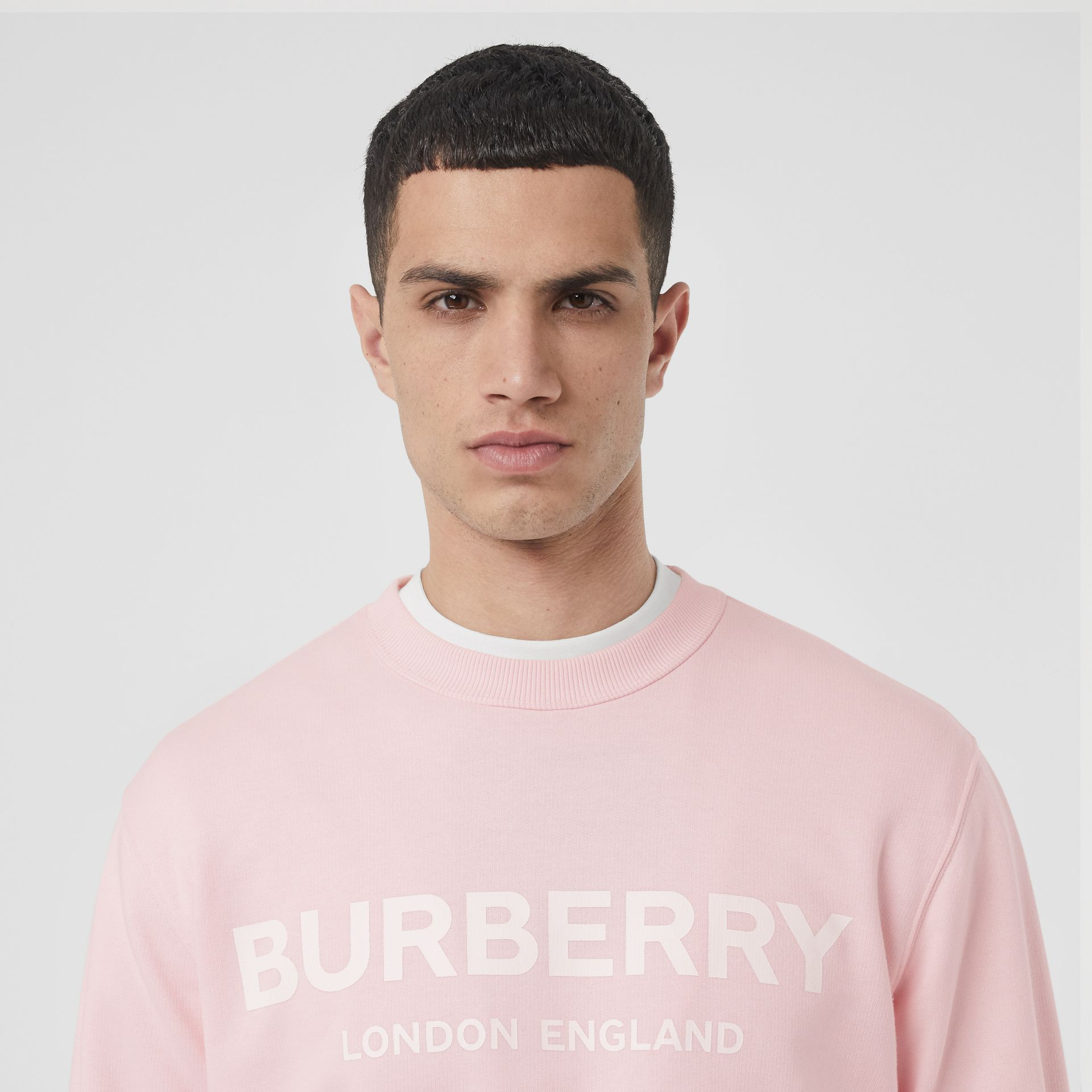 Logo Print Cotton Sweatshirt in Alabaster Pink - Men | Burberry United Kingdom - gallery image 1