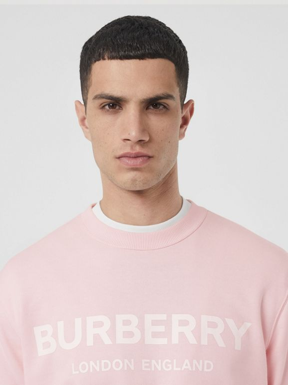 Logo Print Cotton Sweatshirt in Alabaster Pink - Men | Burberry United Kingdom - cell image 1