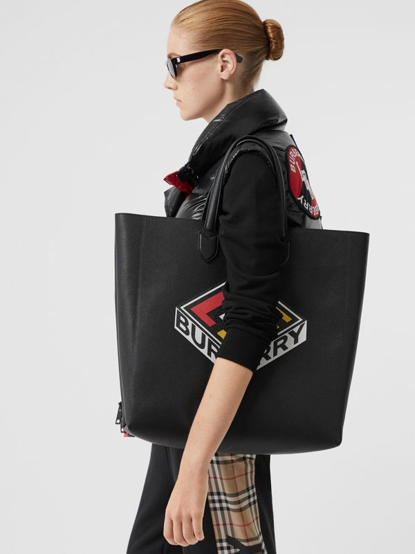 Large Logo Graphic Grainy Leather Tote in Black - Men | Burberry - cell image 2