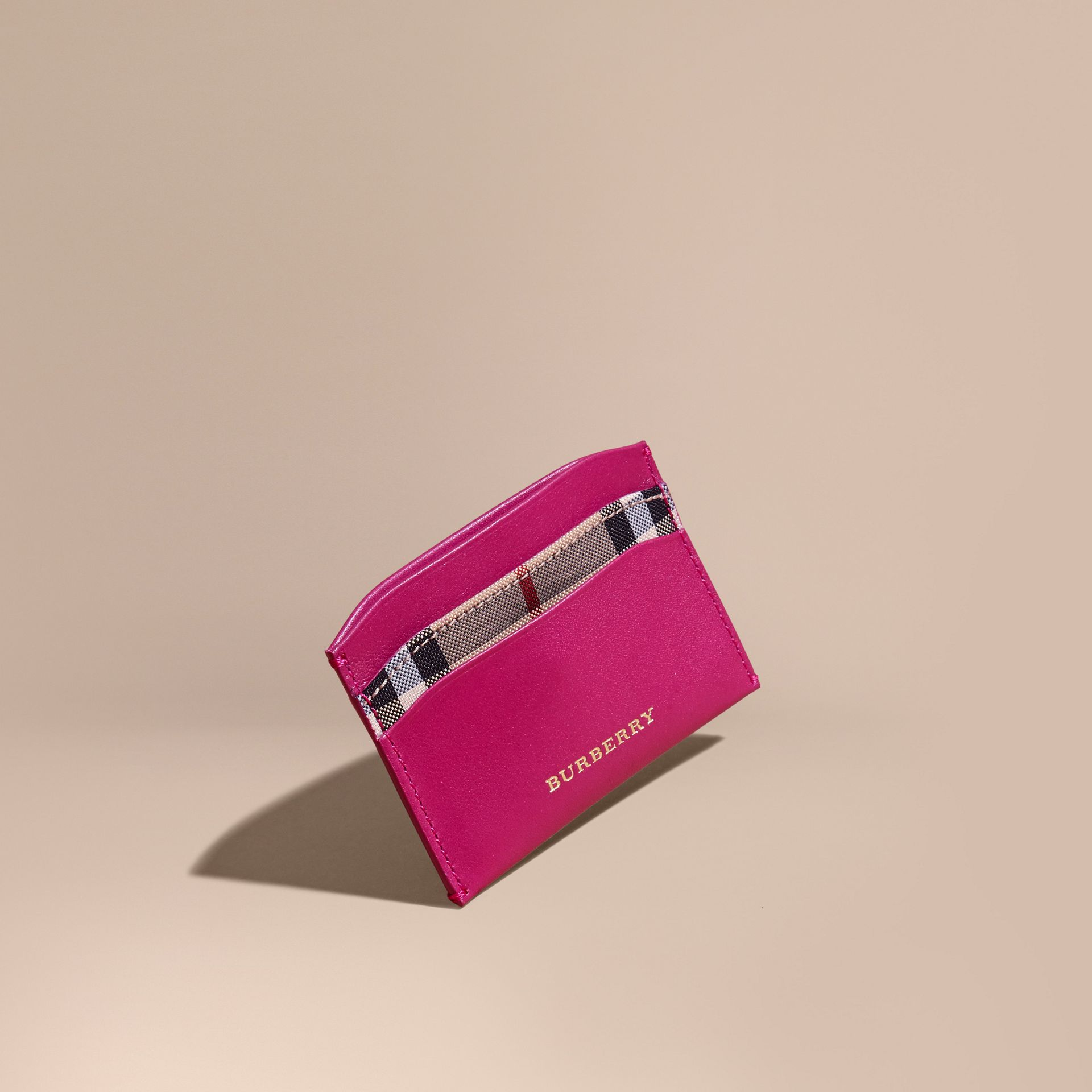 Brilliant fuchsia Check and Leather Card Case Brilliant Fuchsia - gallery image 1