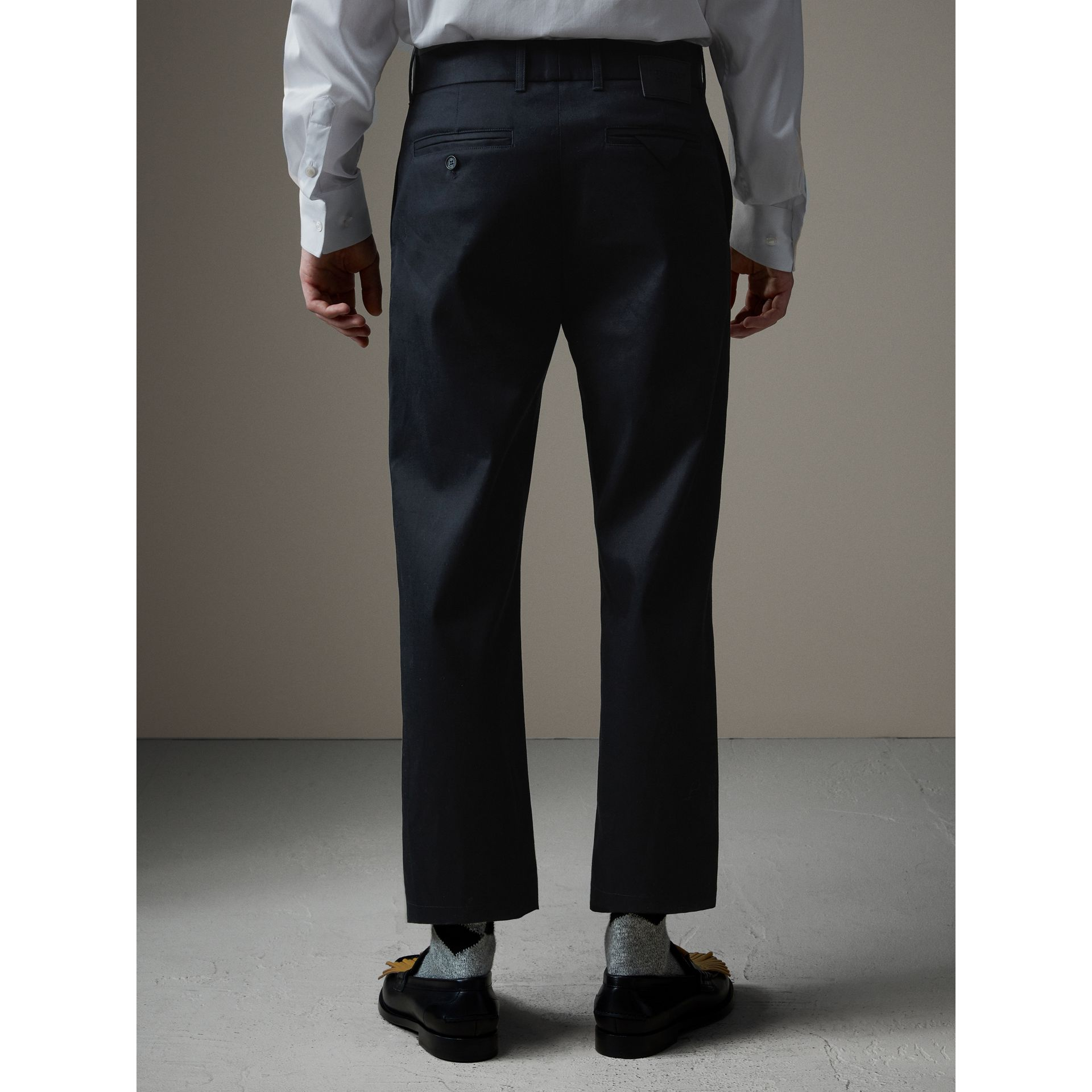 Cotton Twill Cropped Chinos in Navy - Men | Burberry - gallery image 2