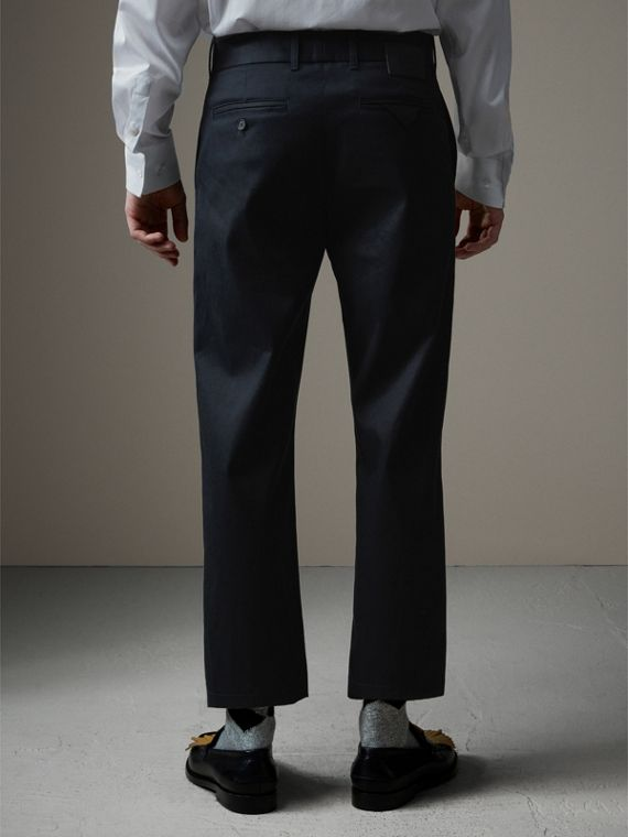 Cotton Twill Cropped Chinos in Navy - Men | Burberry Singapore - cell image 2
