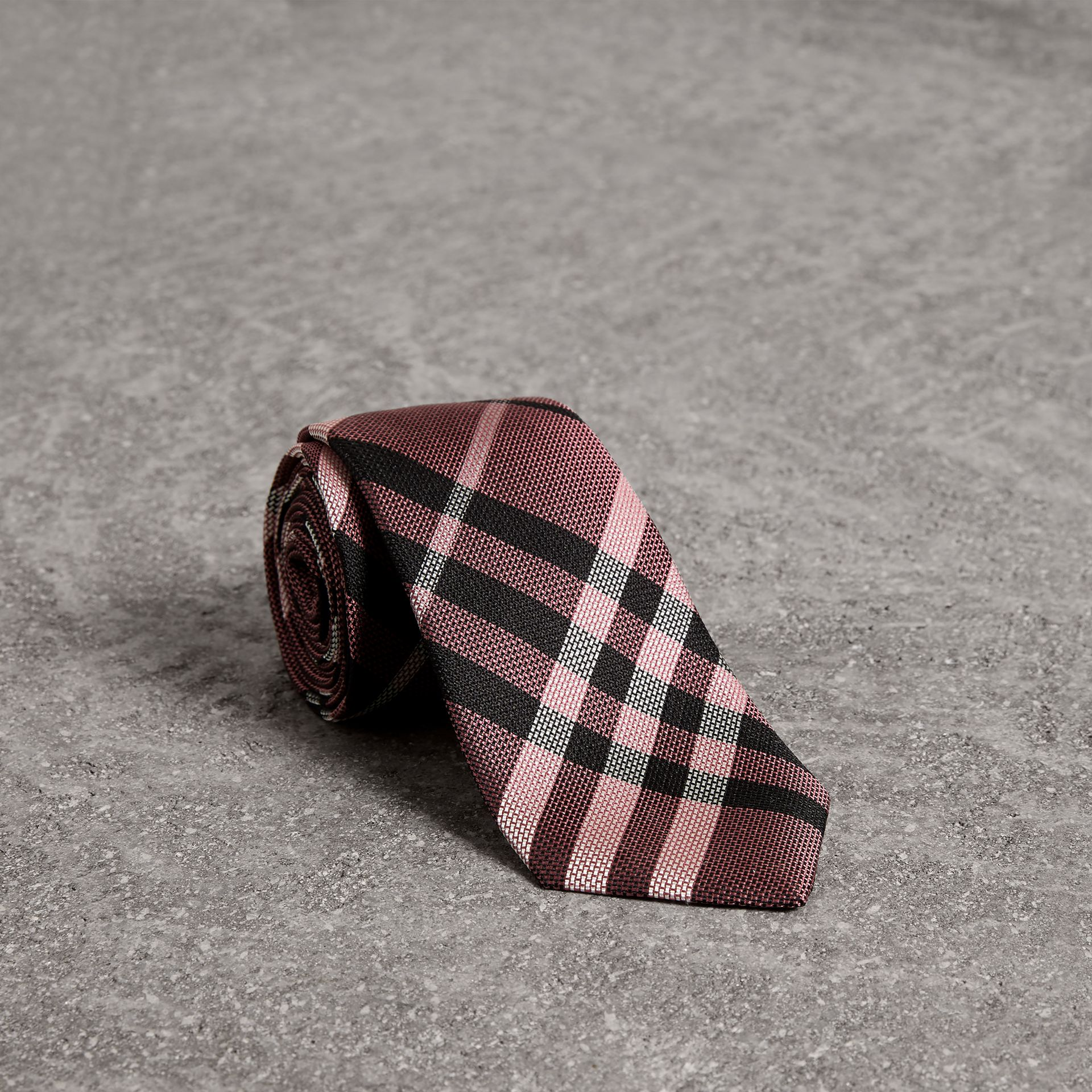 Modern Cut Check Silk Tie in Pink Apricot - Men | Burberry - gallery image 0