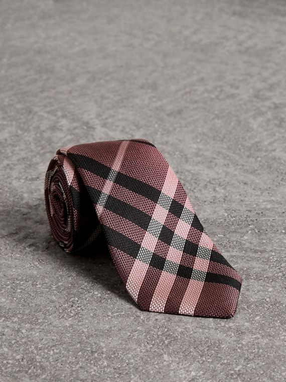 Modern Cut Check Silk Tie in Pink Apricot