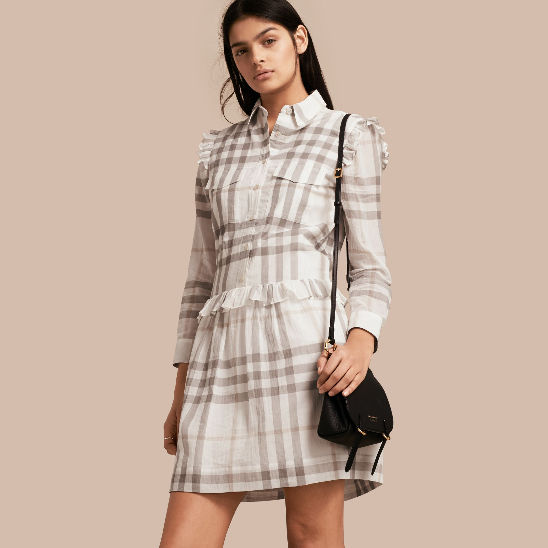 Ruffle Detail Cotton Check Shirt Dress in Natural White - gallery image 1