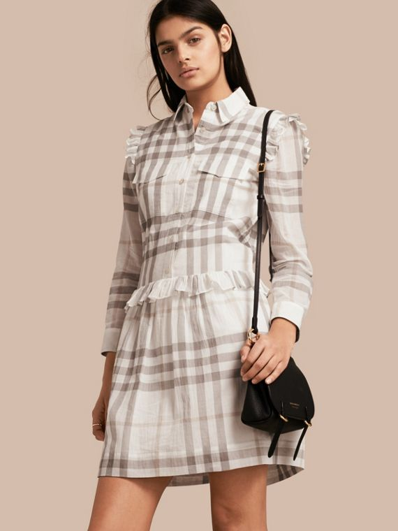 Ruffle Detail Cotton Check Shirt Dress Natural White