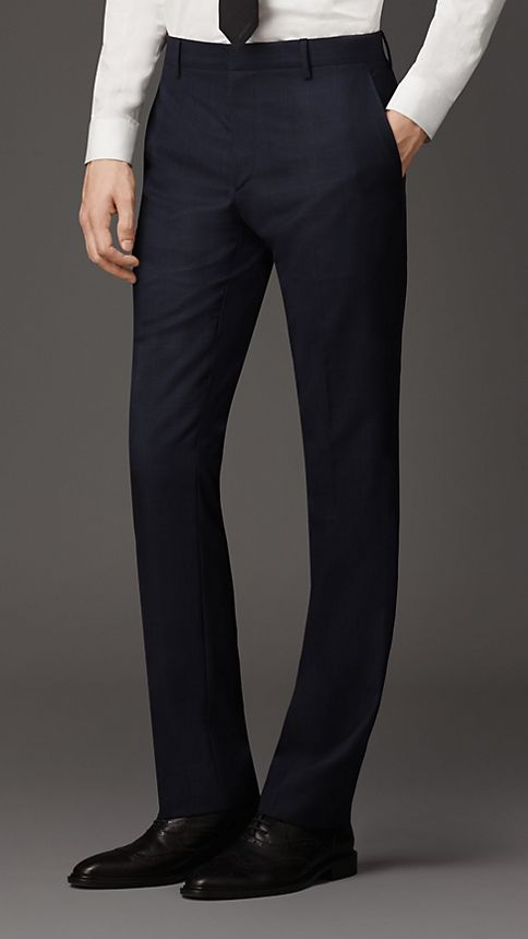 Navy Modern Fit Check Wool Part-canvas Suit - Image 5