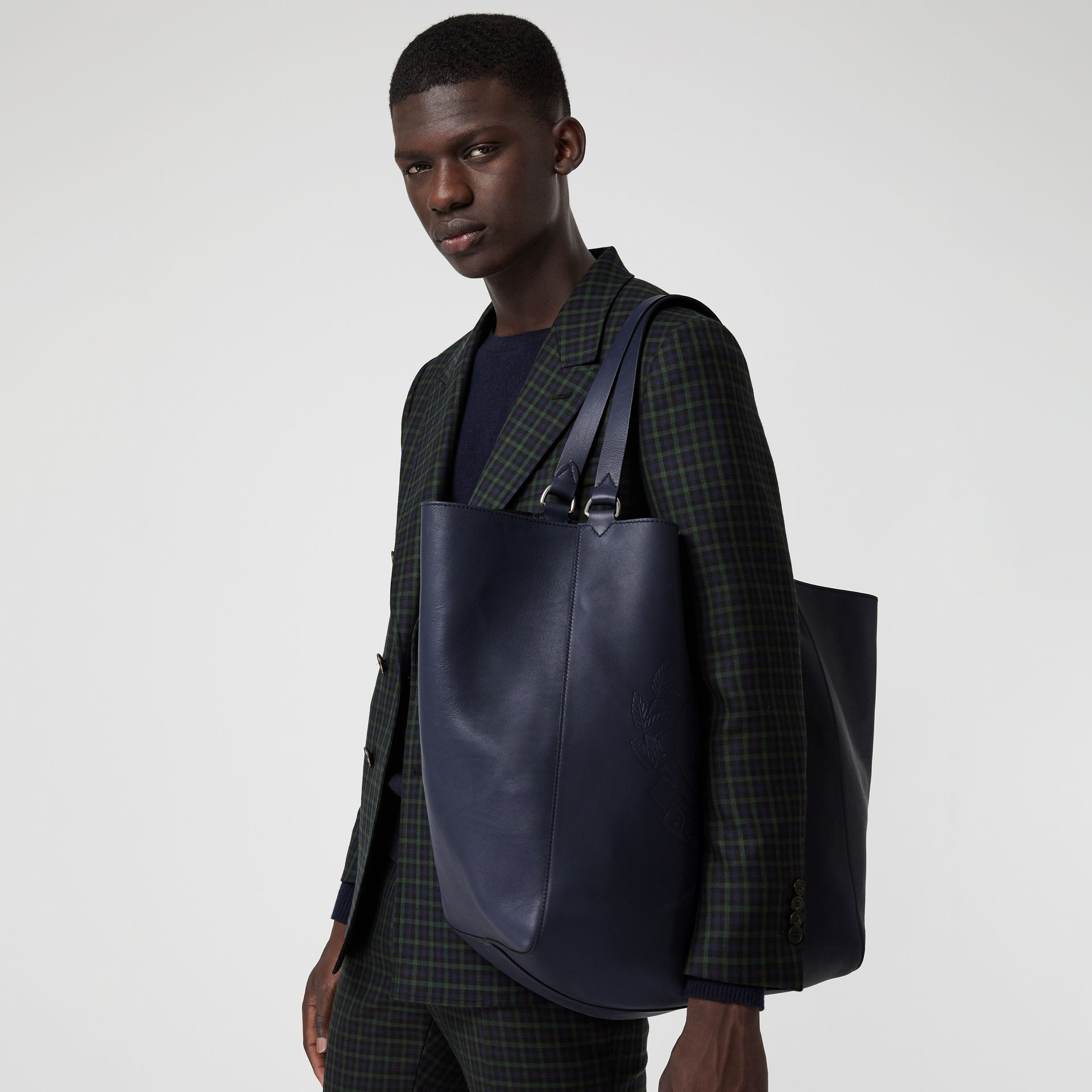 Large Embossed Crest Bonded Leather Tote in Regency Blue - Men | Burberry United Kingdom - gallery image 3