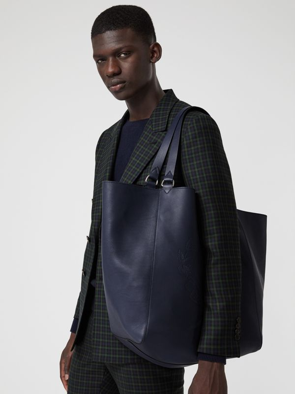 Large Embossed Crest Bonded Leather Tote in Regency Blue - Men | Burberry - cell image 3