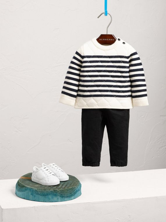Quilted Striped Wool Cashmere Sweater in Natural White