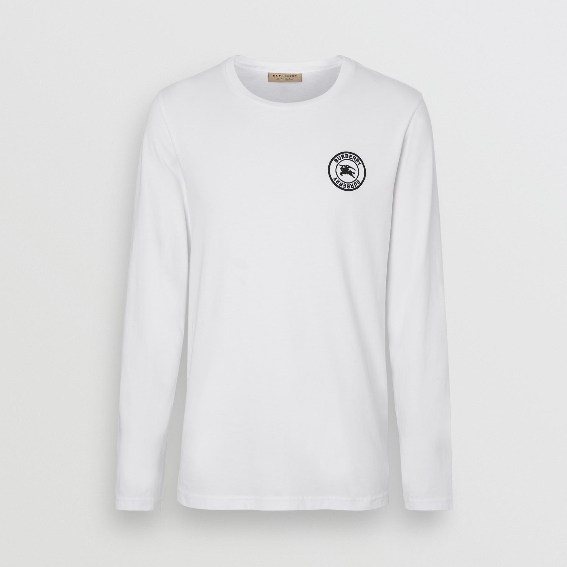 Футболка с вышитым логотипом (Белый) - Для мужчин | Burberry - изображение 3