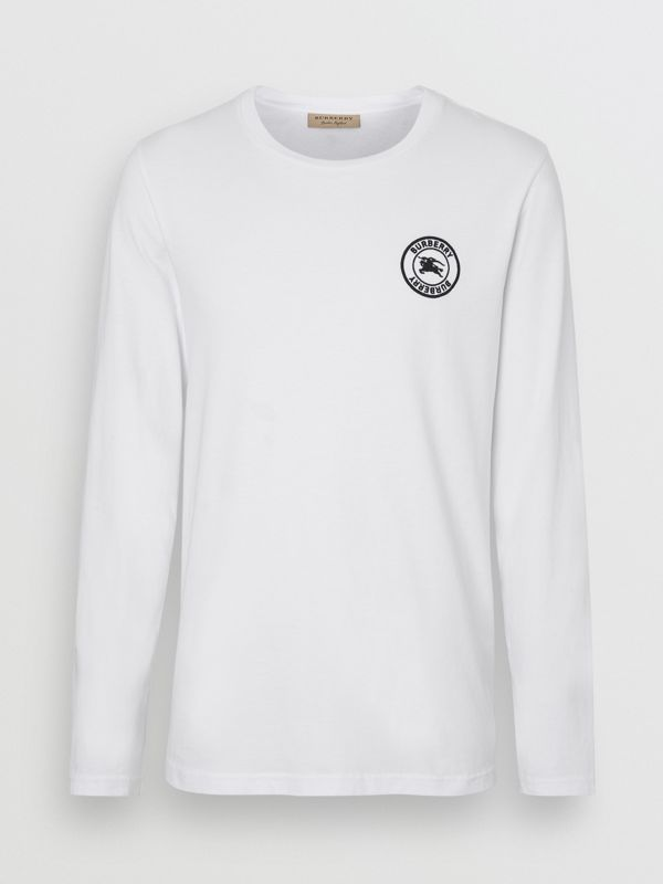 Long Sleeve Embroidered Logo Cotton T-shirt in White - Men | Burberry United States - cell image 3