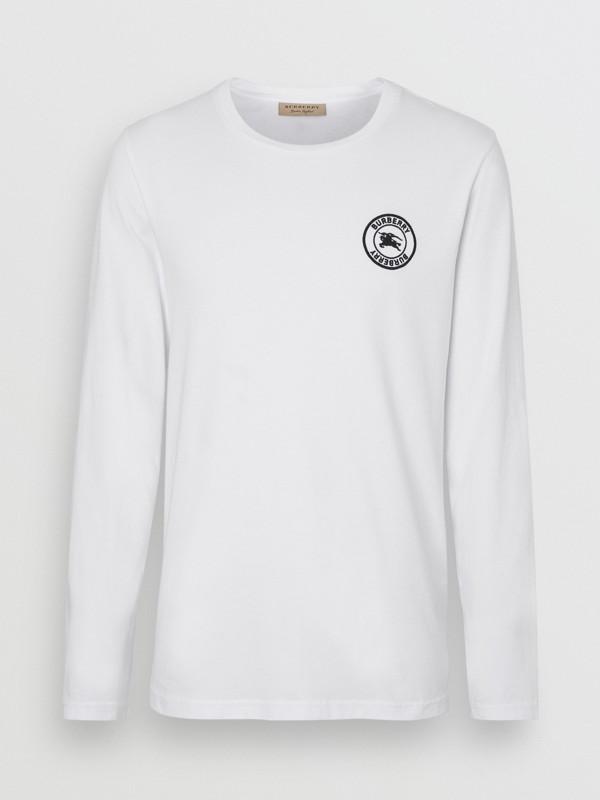 Футболка с вышитым логотипом (Белый) - Для мужчин | Burberry - cell image 3
