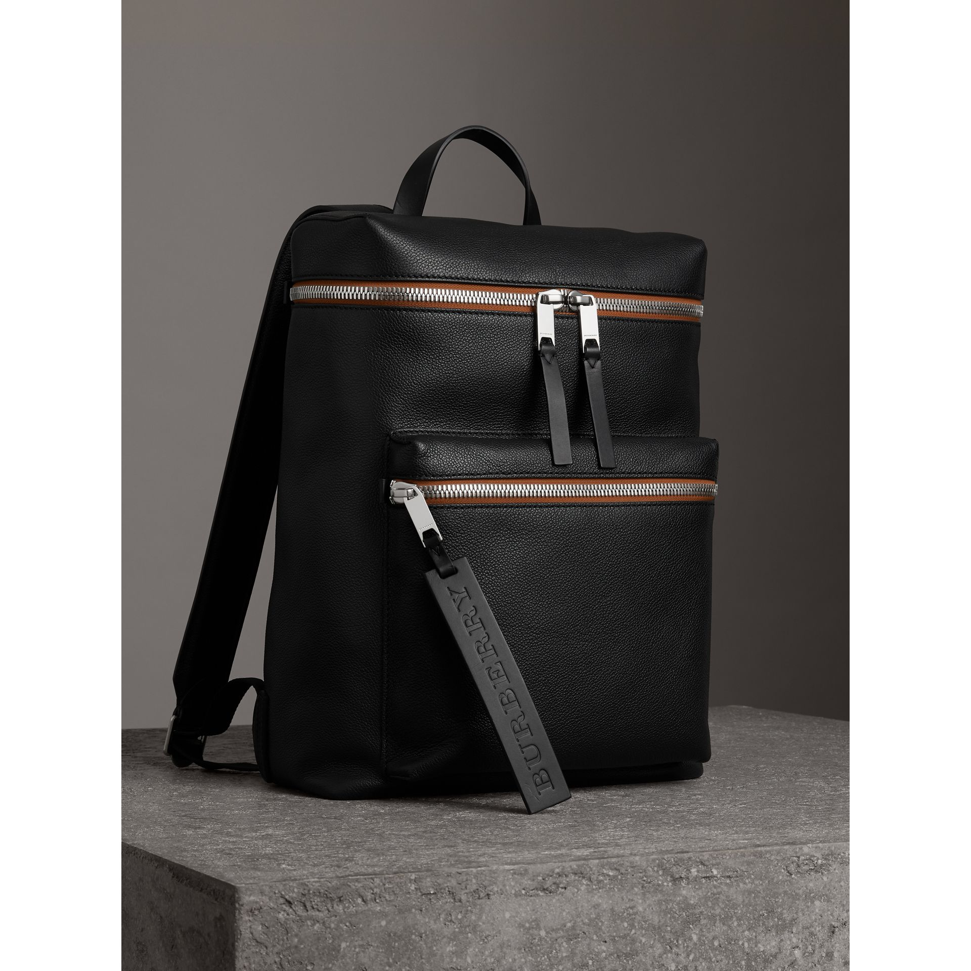Zip-top Leather Backpack in Black - Men | Burberry Canada - gallery image 6