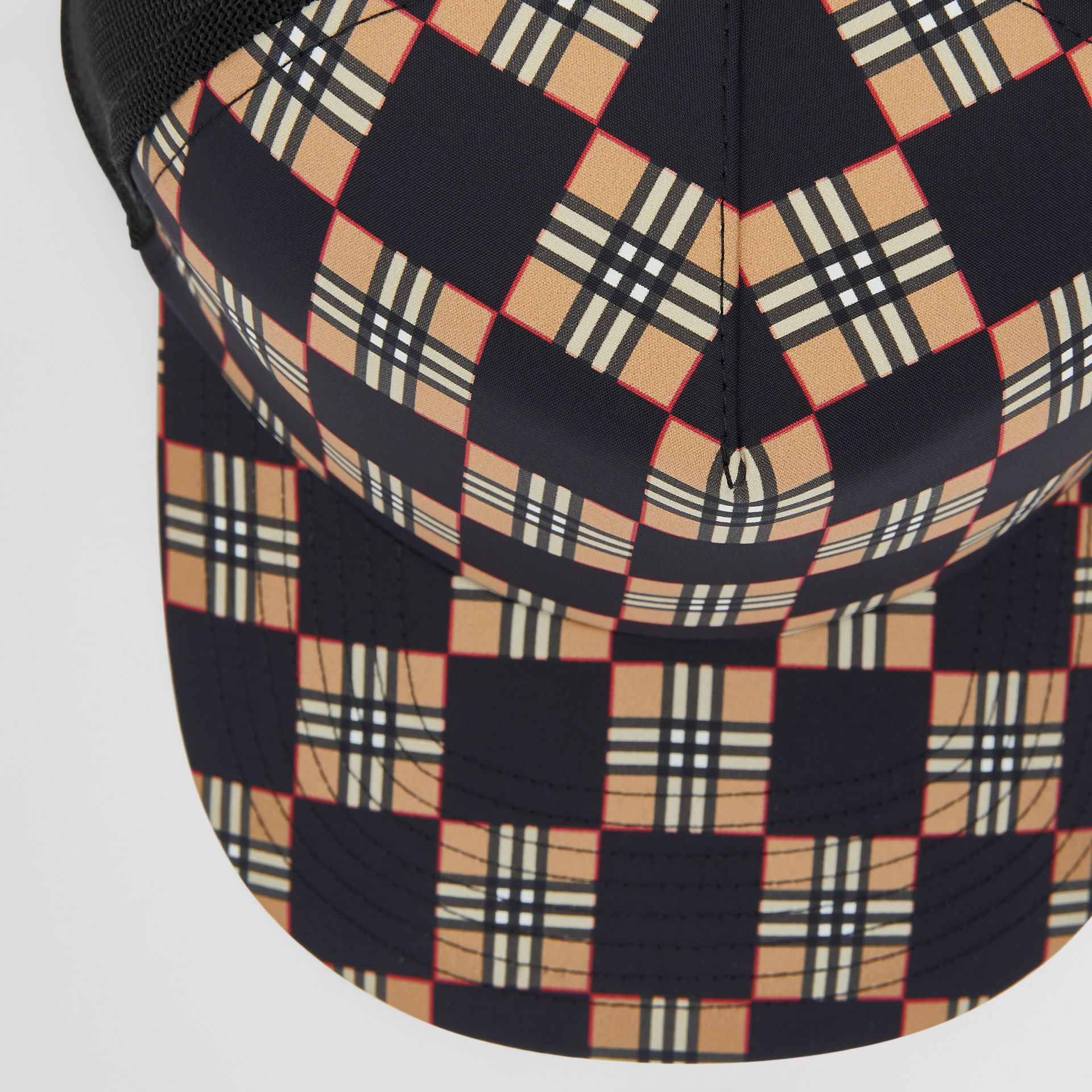 Chequer ECONYL® and Mesh Baseball Cap in Black/archive Beige | Burberry United Kingdom - gallery image 1