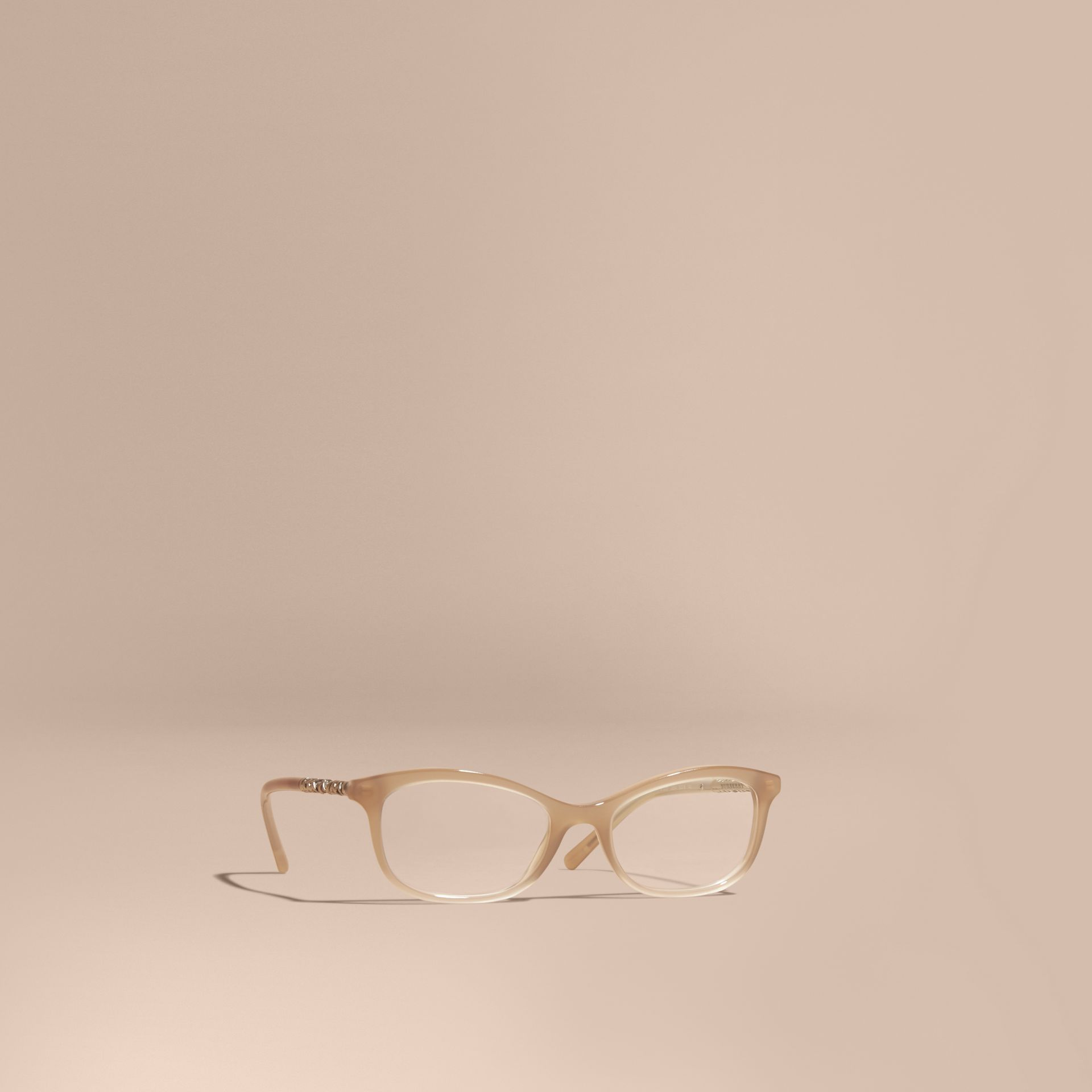 Check Detail Oval Optical Frames Chino Grey - gallery image 1