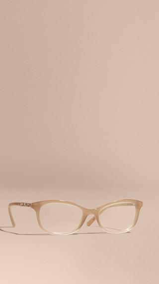 Monture ovale avec détails check pour lunettes de vue