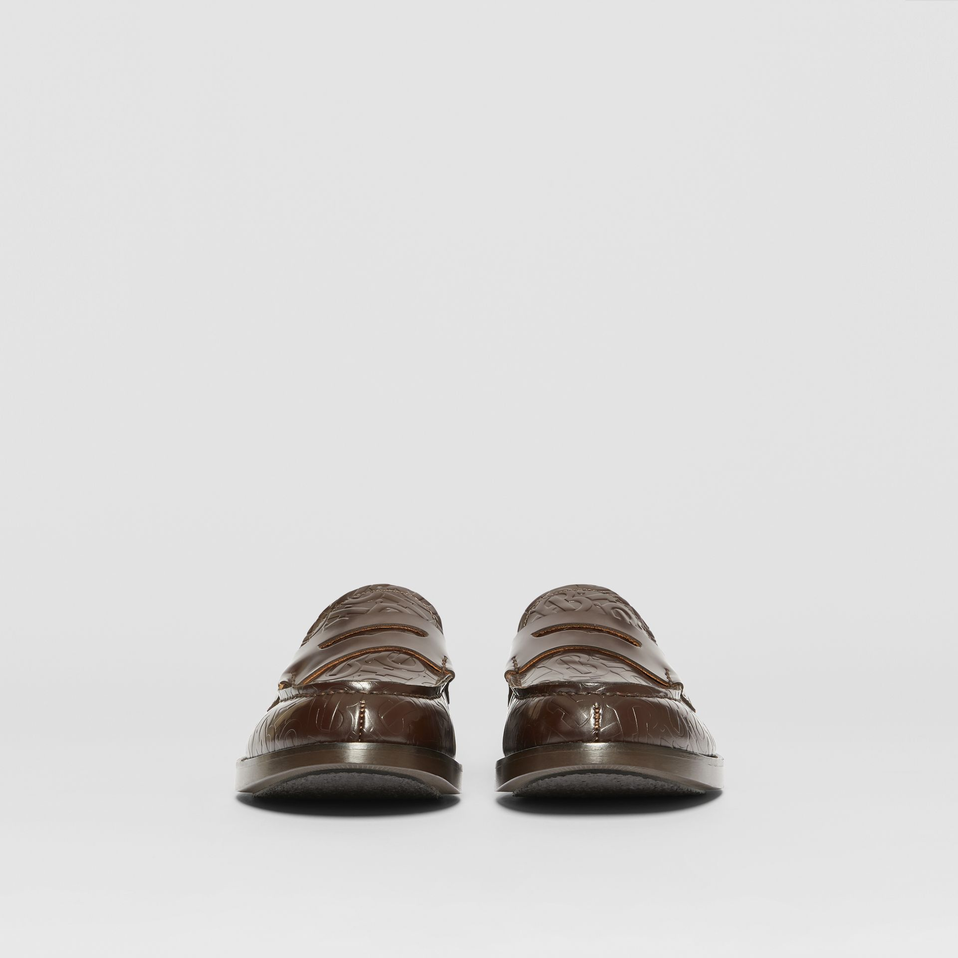 D-ring Detail Monogram Leather Loafers in Chocolate - Men | Burberry - gallery image 2