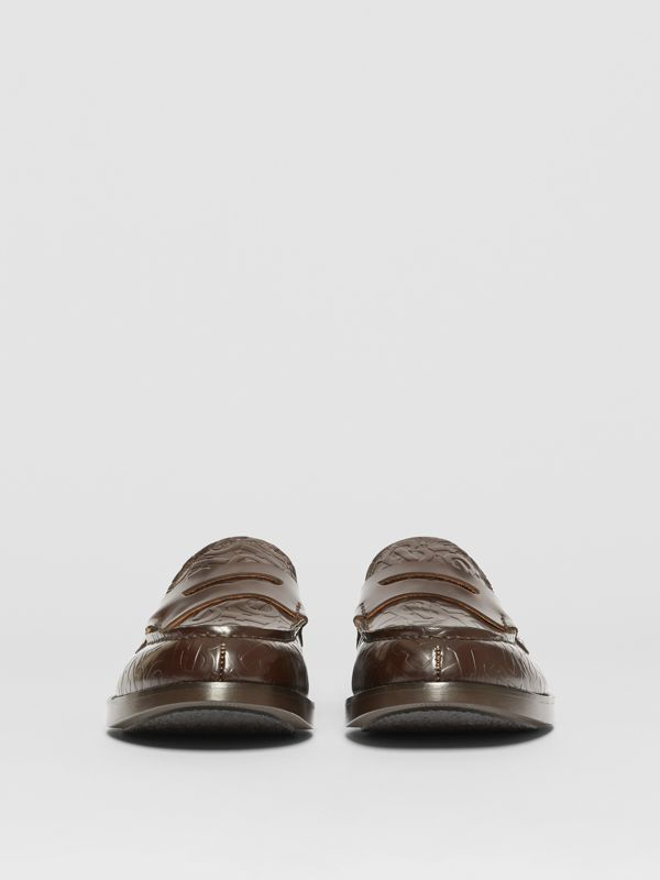 D-ring Detail Monogram Leather Loafers in Chocolate - Men | Burberry - cell image 2