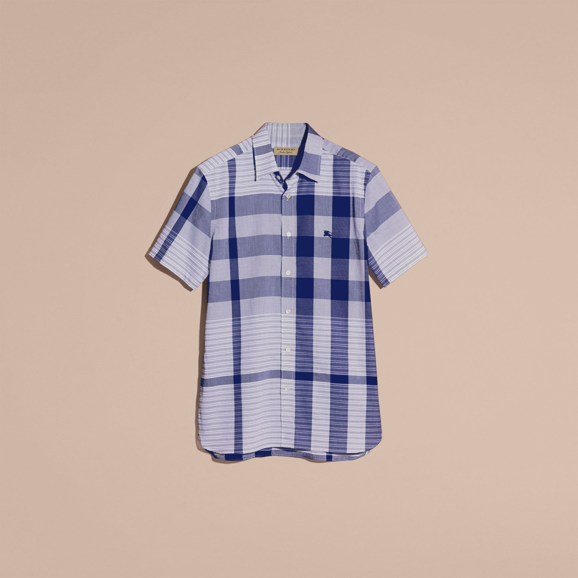 Short-sleeved Tonal Check Cotton Shirt Bright Navy - gallery image 4
