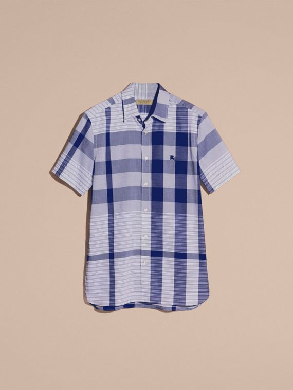 Short-sleeved Tonal Check Cotton Shirt Bright Navy - cell image 3