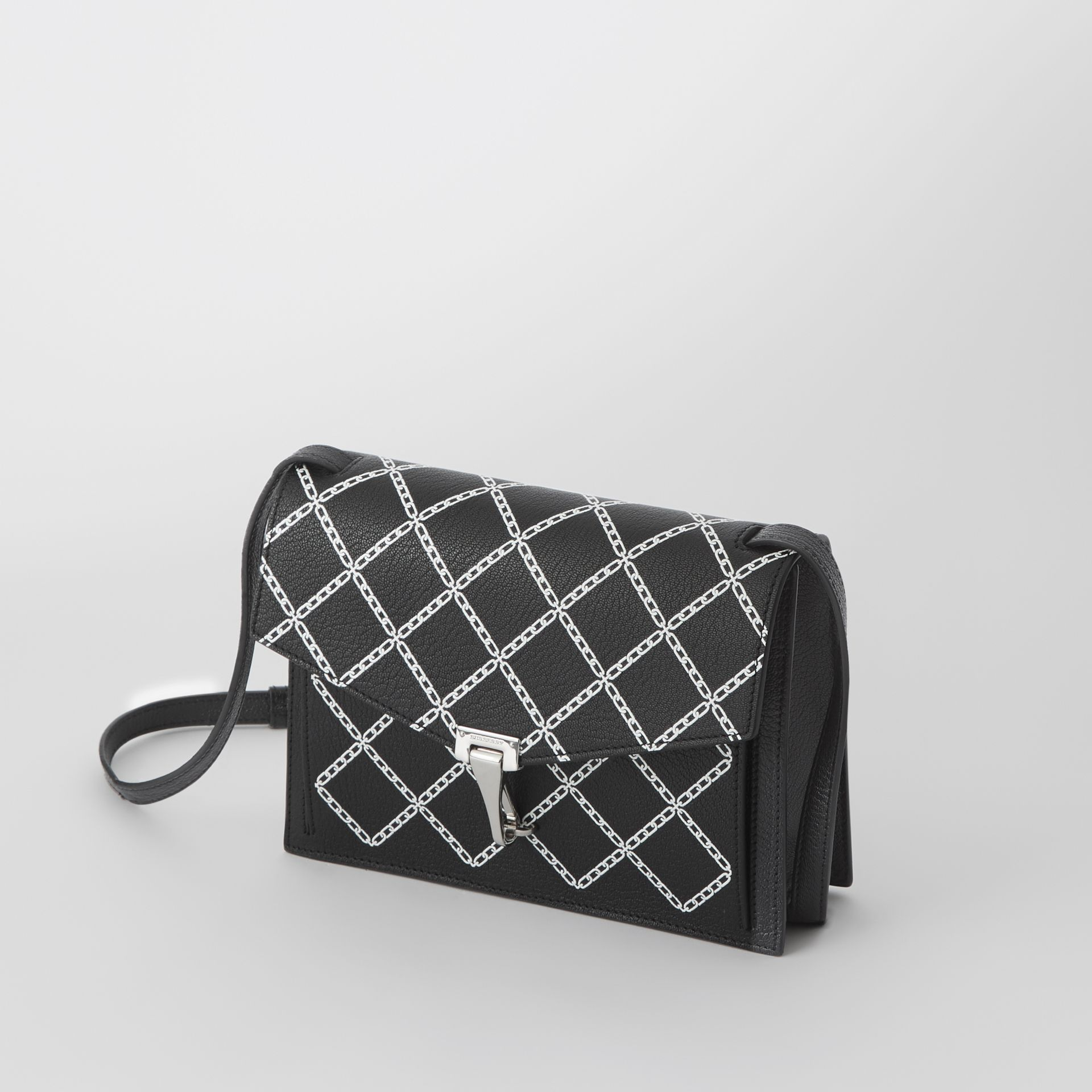 Small Link Print Leather Crossbody Bag in Black - Women | Burberry - gallery image 4