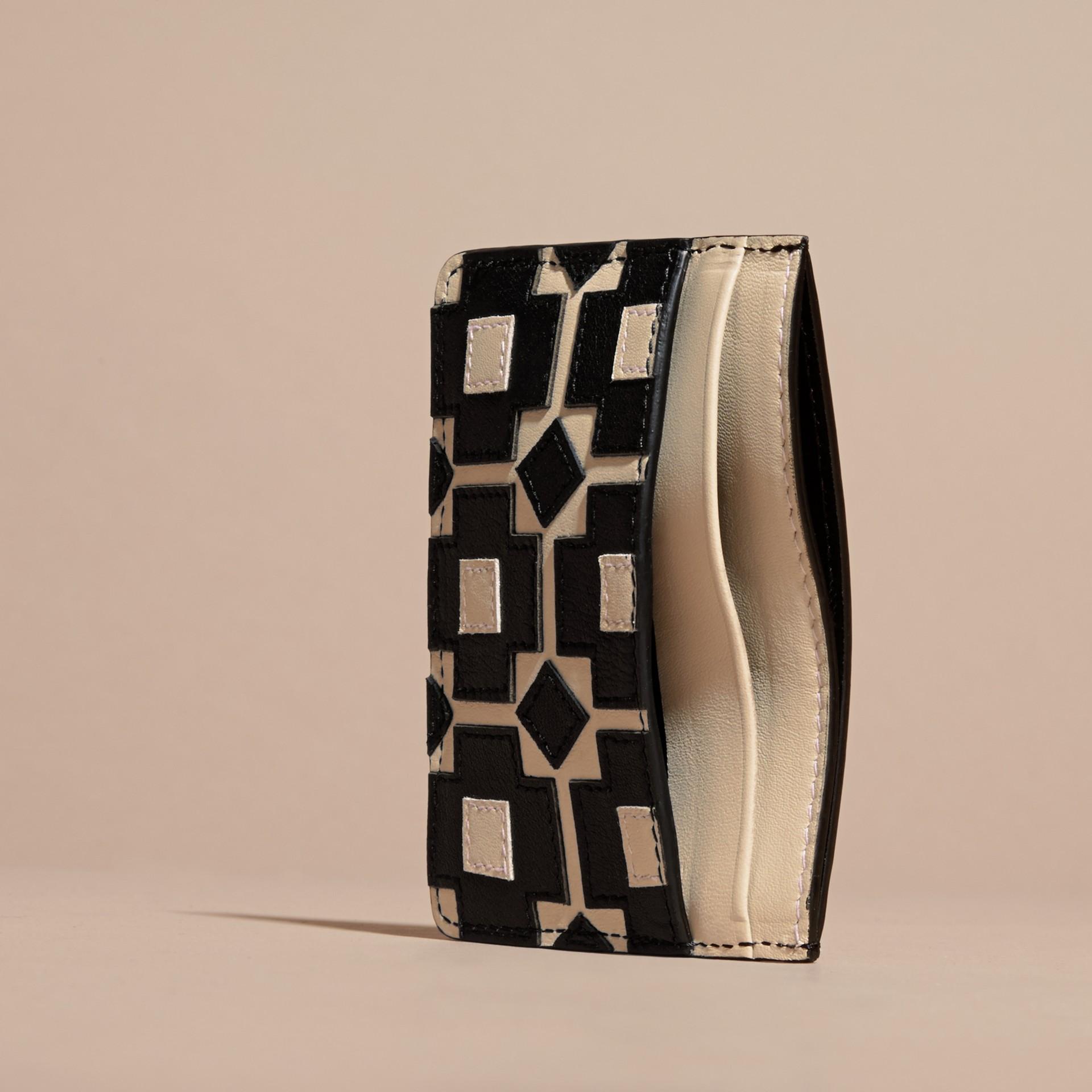 Stone Geometric Appliqué Leather Card Case - gallery image 5