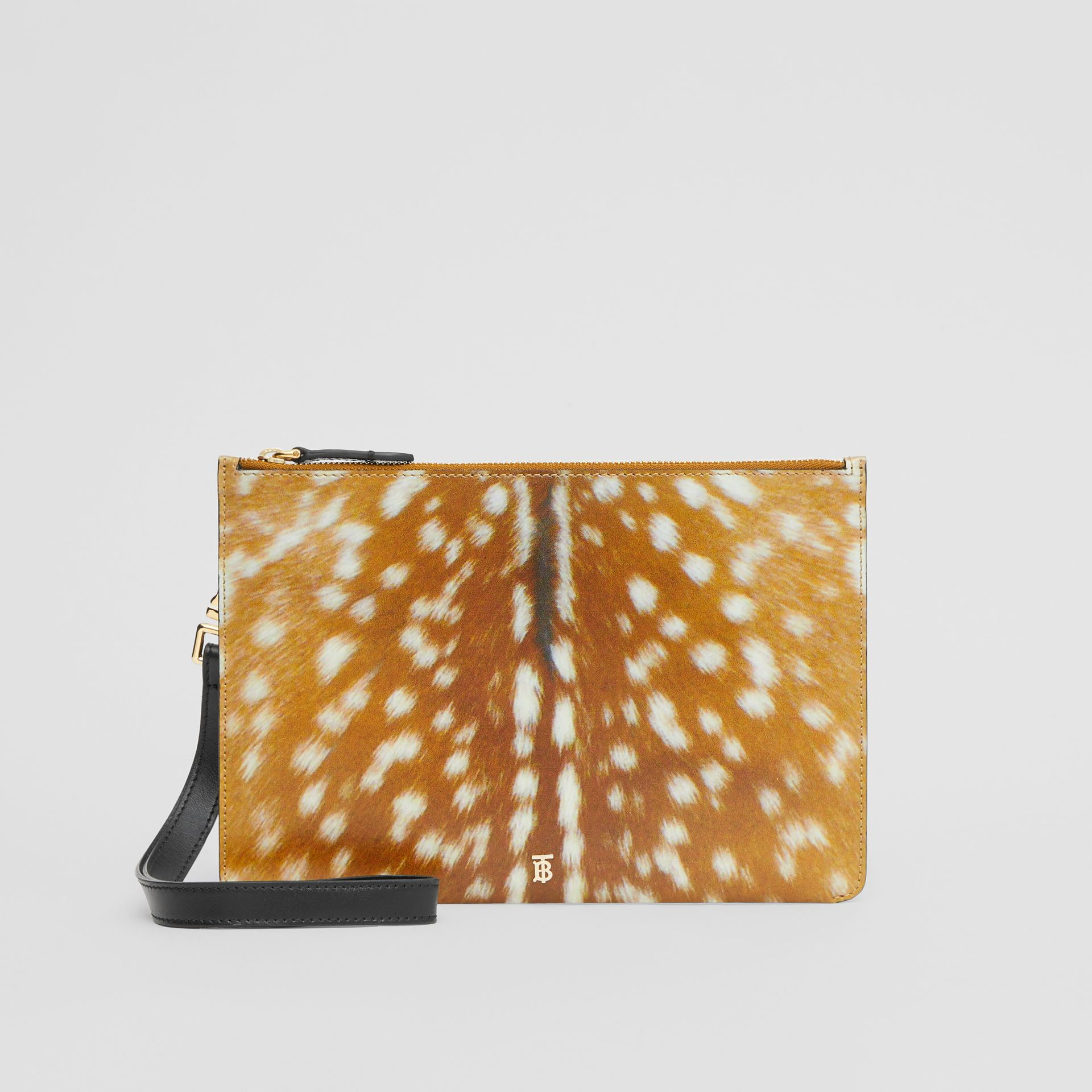 Deer Print Leather Zip Pouch in Malt Brown | Burberry Singapore - gallery image 0